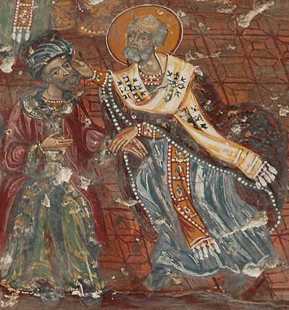 Sf Nicolae palmuind pe ereticul Arie