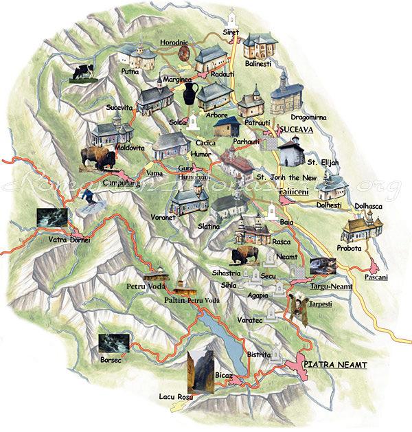 Moldova manastiri map
