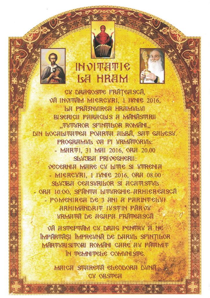 Hram Manastirea Galesu Constanta - Sf. Iustin Martirul si Filozoful 1 iunie
